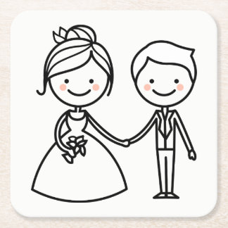 Cartoon Bride & Groom Black And White Wedding Square Paper Coaster