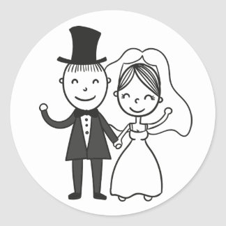 Cartoon Bride & Groom Just Married Wedding Round Sticker