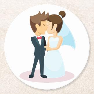 Cartoon Bride & Groom Kissing Wedding Round Paper Coaster