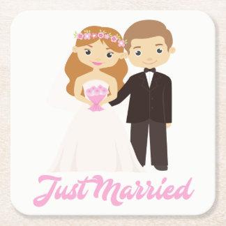 Cartoon Bride & Groom Pink Just Married Wedding Square Paper Coaster