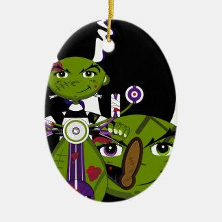 Cartoon Bride of Frankenstein Ceramic Oval Ornament