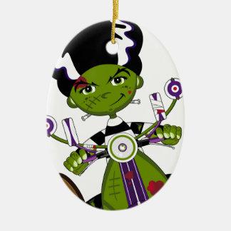 Cartoon Bride of Frankenstein on Scooter Ceramic Oval Ornament