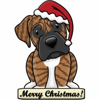 Cartoon Brindle Boxer Christmas Ornament Photo Sculpture Ornament