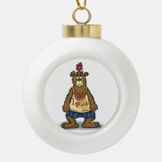 Cartoon Brown bear standing on his back feet Ceramic Ball Christmas Ornament