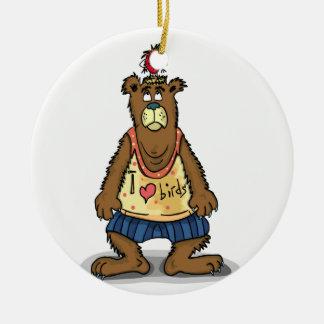 Cartoon Brown bear standing on his back feet Ceramic Ornament
