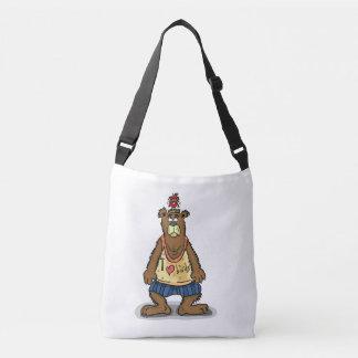 Cartoon Brown bear standing on his back feet Crossbody Bag