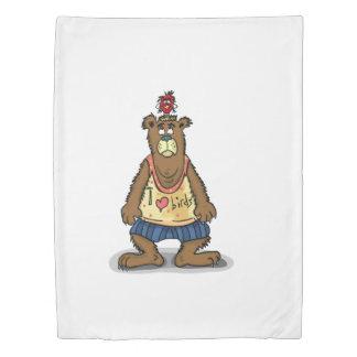Cartoon Brown bear standing on his back feet Duvet Cover