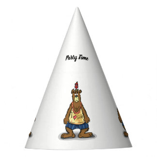 Cartoon Brown bear standing on his back feet Party Hat