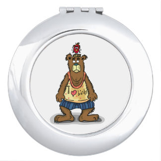 Cartoon Brown bear standing on his back feet Travel Mirror