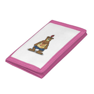 Cartoon Brown bear standing on his back feet Trifold Wallet