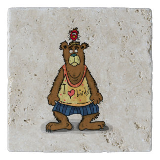 Cartoon Brown bear standing on his back feet Trivet