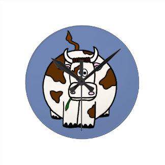 Cartoon Brown Cow Round Clock