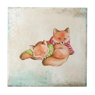 Cartoon brown fox couple tile
