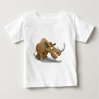 cartoon brown rhino with a large white horn baby T-Shirt