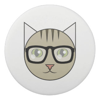 Cartoon Brown Tabby Eraser with Glasses