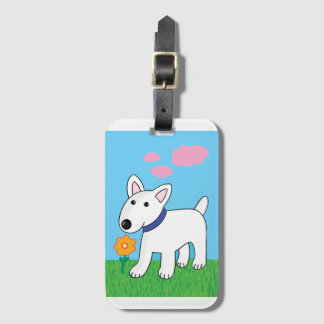 Cartoon Bull Terrier w Flower Luggage Tag
