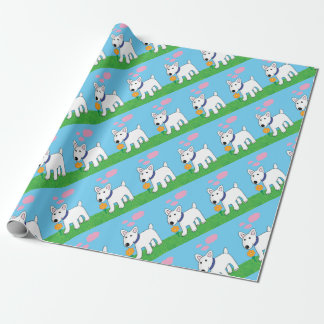 Cartoon Bull Terrier w Flower Wrapping Paper