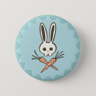 Cartoon Bunny Skull and Crossbones Button