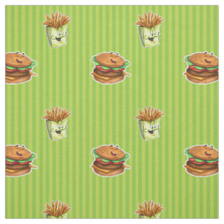 Cartoon burger and fries pattern fabric
