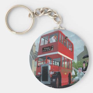 cartoon bus stop queue keychain