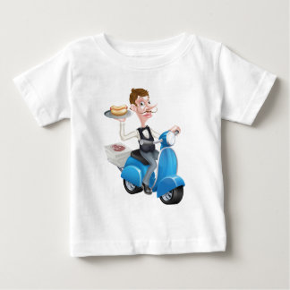 Cartoon Butler on Scooter Moped Delivering Hotdog Baby T-Shirt