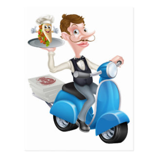 Cartoon Butler on Scooter Moped Delivering Souvlak Postcard