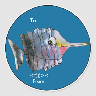 Cartoon Butterfly Fish Personalized Labels Round Sticker