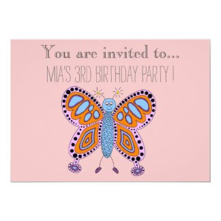 """Cartoon butterfly infant or toddler birthday party 5"""" x 7"""" invitation card"""