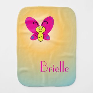 Cartoon Butterfly with Name Baby Burp Cloths