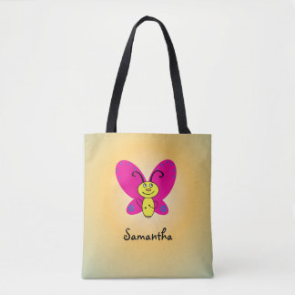 Cartoon Butterfly with Name Tote Bag