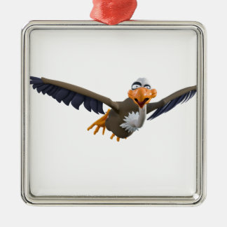 Cartoon Buzzard Flying Seen from Below Silver-Colored Square Ornament