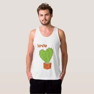 Cartoon cactus with love tank top