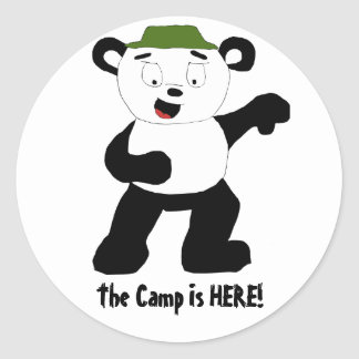 Cartoon Camp Panda Classic Round Sticker