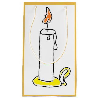 Cartoon Candle Holiday Candlestick Design Small Gift Bag