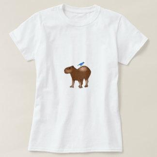 Cartoon Capybara with Blue Bird on Its Back T-Shirt