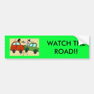 cartoon-car-crash, WATCH THE ROAD!! Bumper Sticker