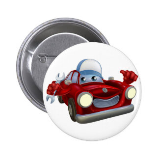 Cartoon car mechanic character 2 inch round button