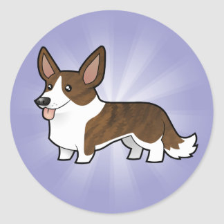 Cartoon Cardigan Welsh Corgi Classic Round Sticker