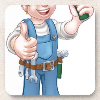 Cartoon Carpenter Handyman Holding Hammer Coasters