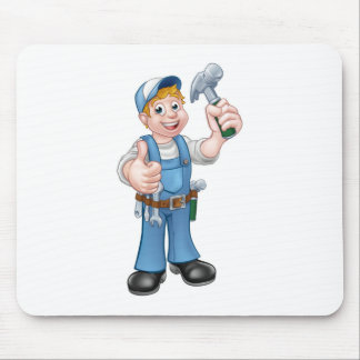 Cartoon Carpenter Handyman Holding Hammer Mouse Pad
