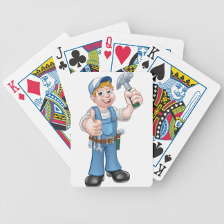 Cartoon Carpenter Handyman Holding Hammer Poker Deck