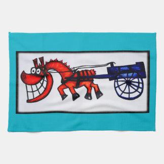 Cartoon cart horse kitchen towel