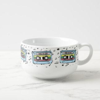 Cartoon Cassette Tape & Music Notes -Mix It Up A&B Soup Mug