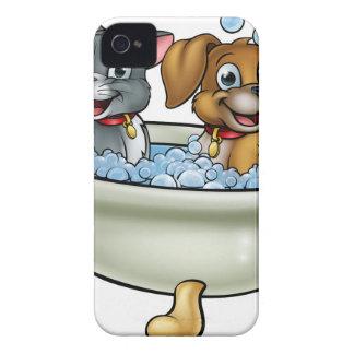 Cartoon Cat and Dog in Bath Case-Mate iPhone 4 Case