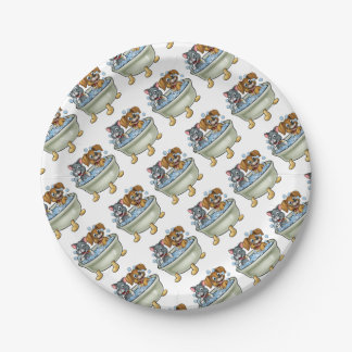 Cartoon Cat and Dog in Bath Paper Plate