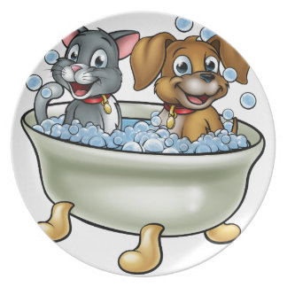 Cartoon Cat and Dog in Bath Plate