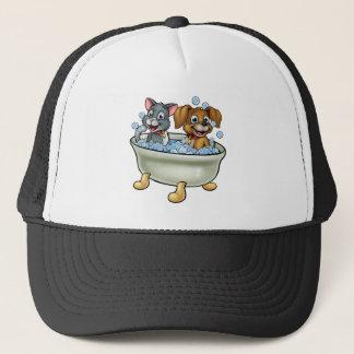 Cartoon Cat and Dog in Bath Trucker Hat