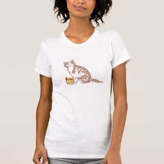 Cartoon Cat,cute, and eating a big fat burger. T-Shirt