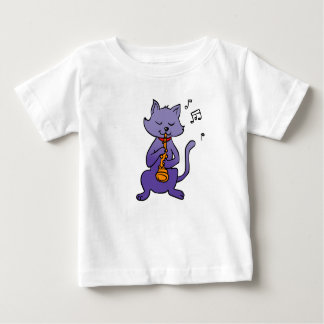 Cartoon cat playing flute baby T-Shirt