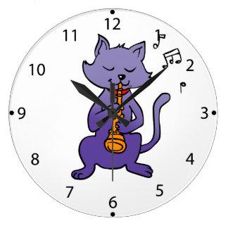 Cartoon cat playing flute large clock